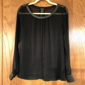 CLUB MONACO Silk & Leather Shirt